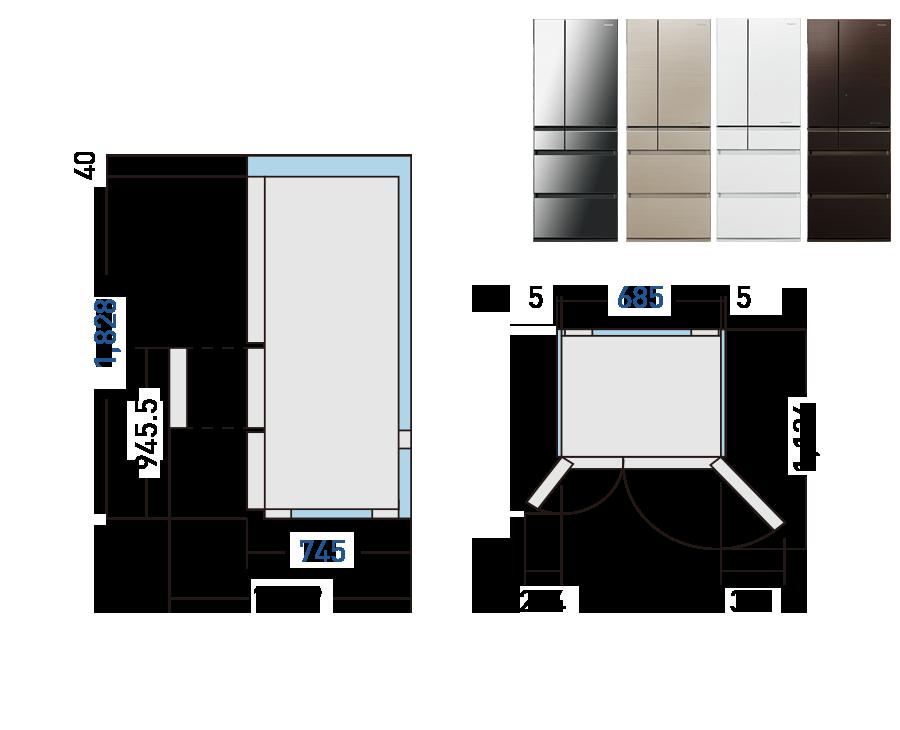 kích thước tủ lạnh Panasonic NR-F603GT-N2
