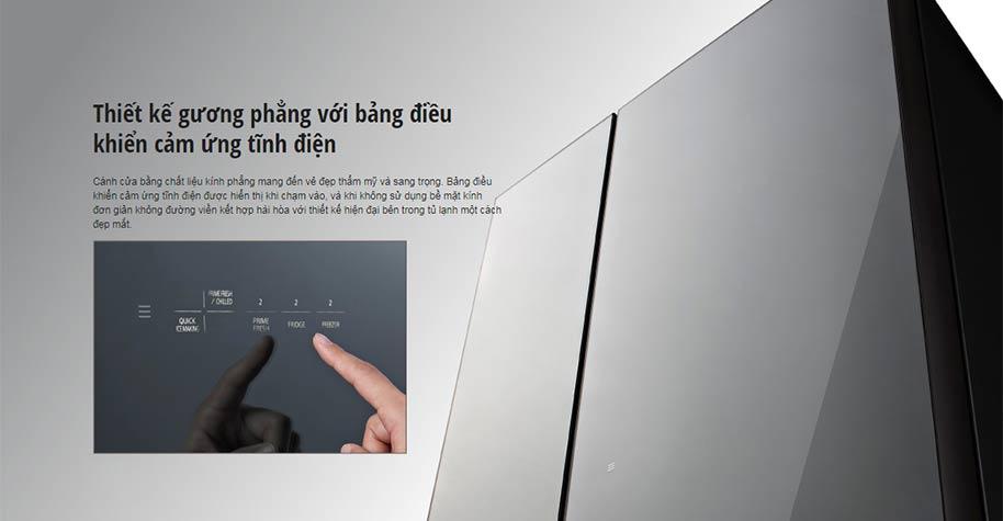 thiết kế gương phẳng của tủ lạnh Panasonic NR-F603GT-N2