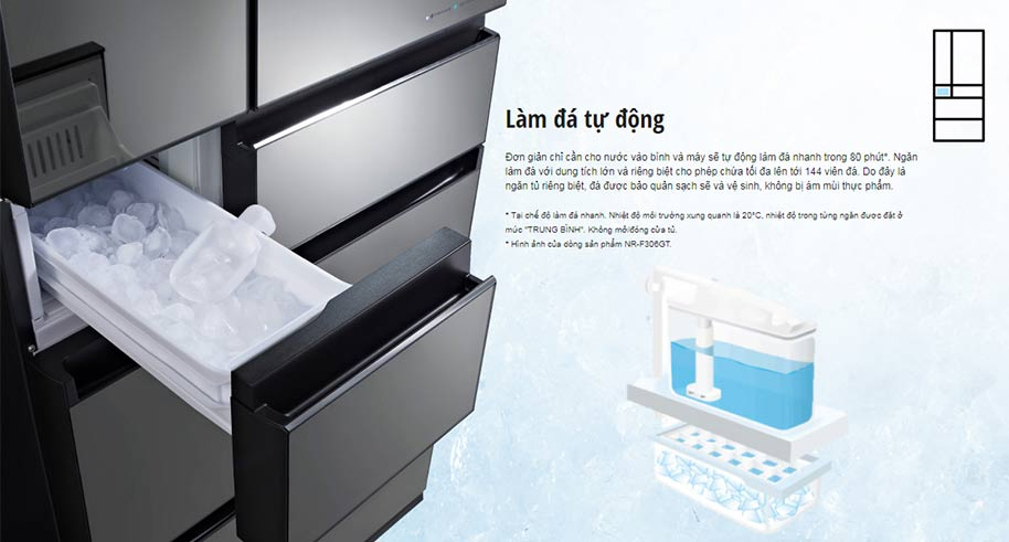 Chức năng làm đá tự động của tủ lạnh Panasonic NR-F603GT-N2