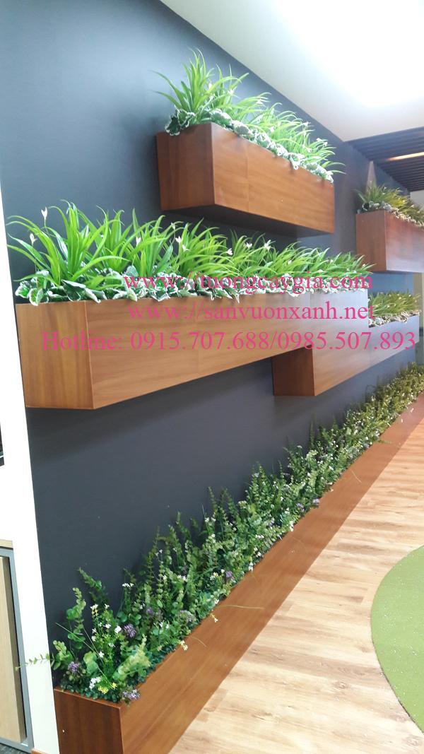 Hộp gỗ trang trí cây hoa lá