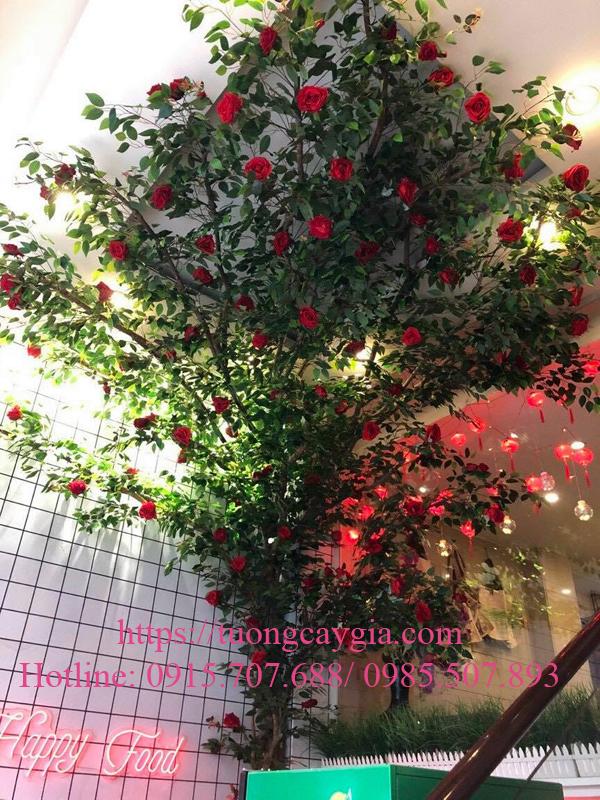 Lắp đặt cây hoa hồng tại nhà hàng Q3 - TP HCM
