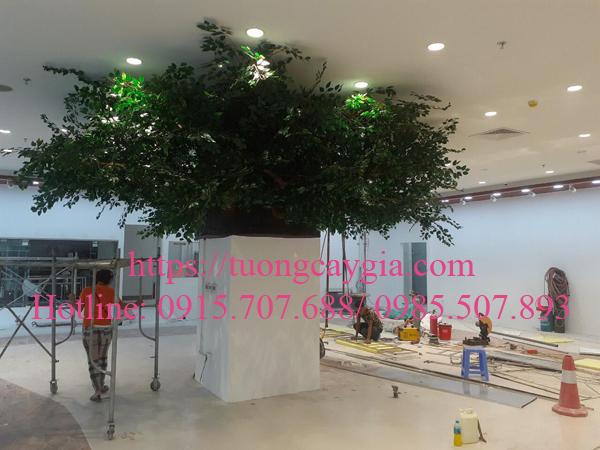 Thi công, lắp đặt thân cây si to bằng cột tòa nhà tại siêu thị Nhật Bản