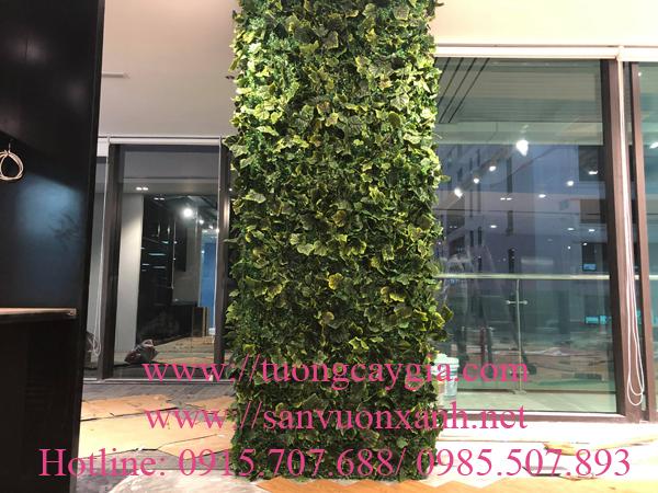 Trang trí dây lá nho cuốn cột tại tầng 5  tòa nhà CIC ngõ 219 Trung Kính, Hà Nội