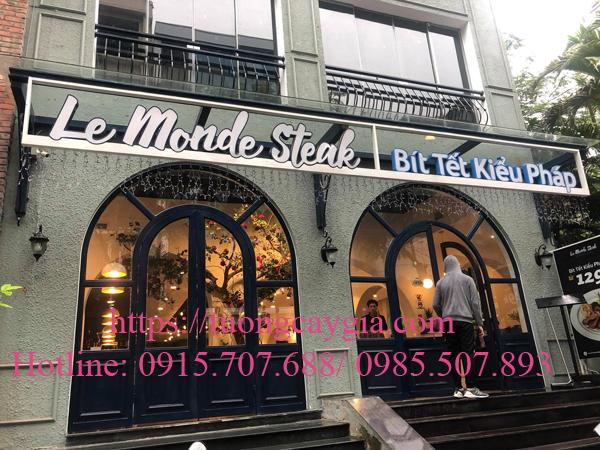 Trang trí và lắp đặt cây hoa Hồng Nhung tại nhà hàng Le Monde Steak