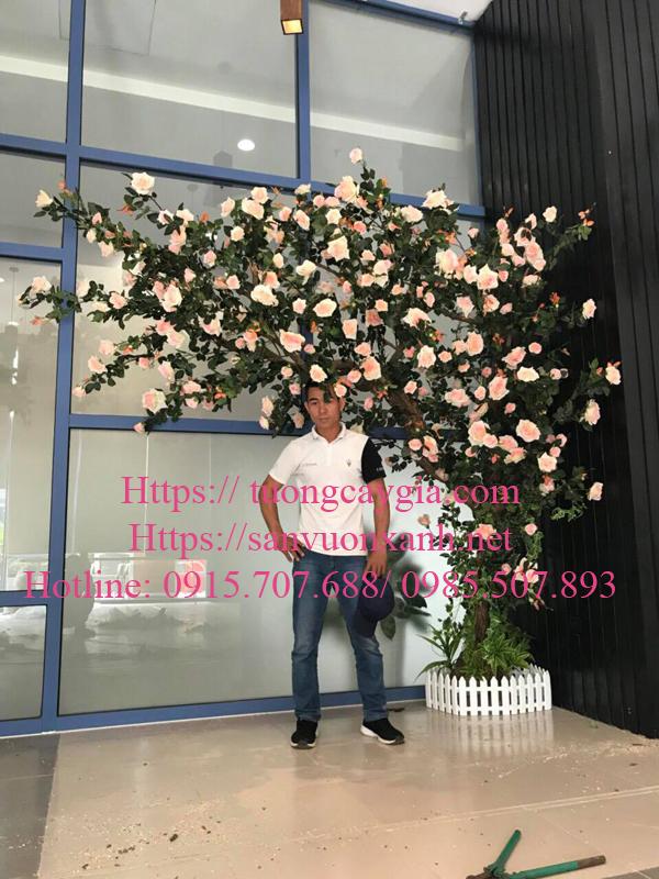 Thi công cây hoa hồng giả