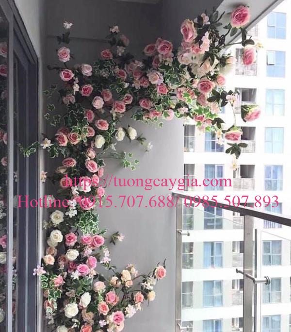 Trang trí hoa hồng leo ban công