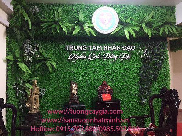 Tường cỏ hoa lá xanh mát tại Trung tâm Nhân đạo