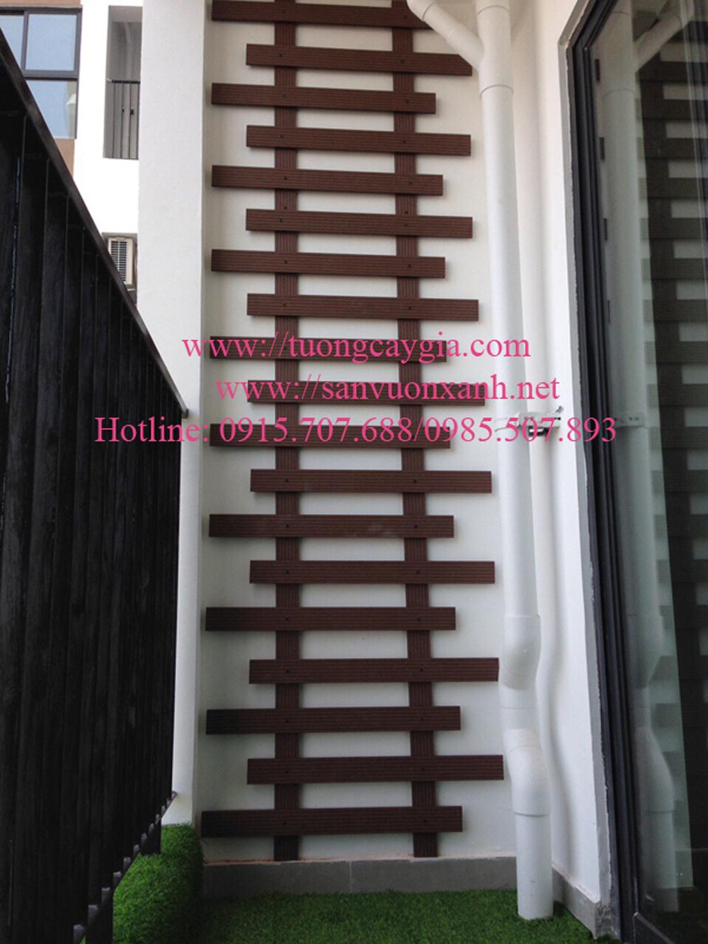 Trang trí ban công gỗ nhựa