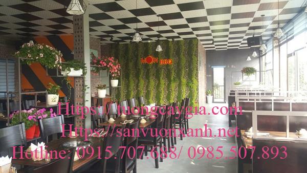 Thi công tường rêu nhân tạo tại nhà hàng Moon BBQ đường Lê Văn Lương, Thanh Xuân, Hà Nội