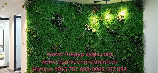 Một số mẫu tường cỏ gắn cụm lá ưu chuộng tại HN- SG