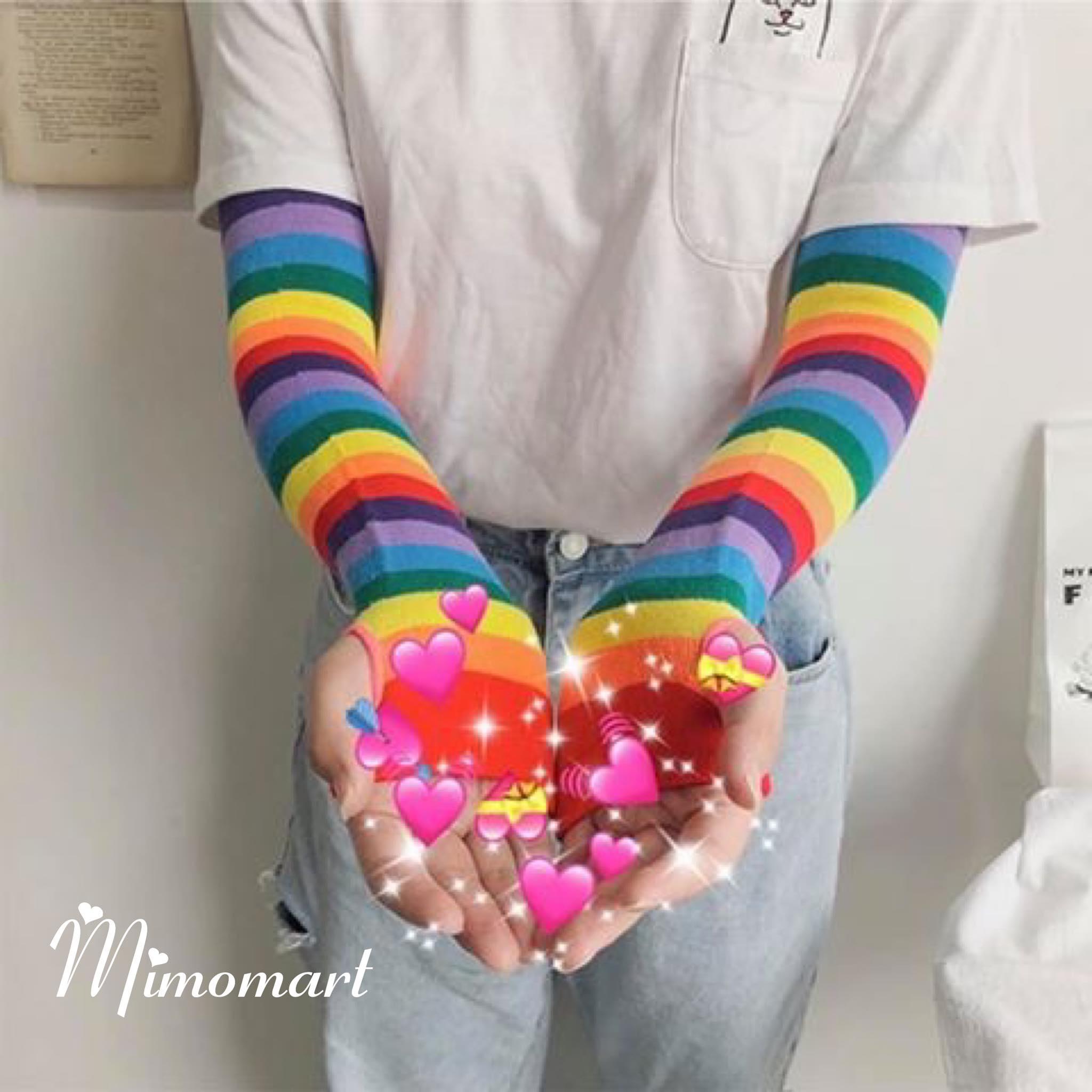 Găng tay dài rainbow