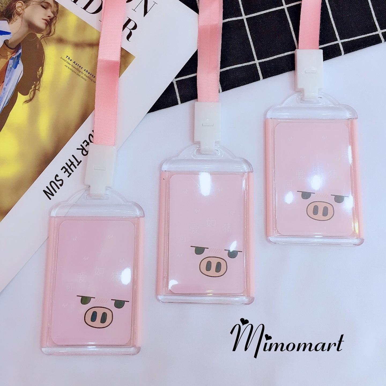 Dây đeo thẻ hình heo hồng