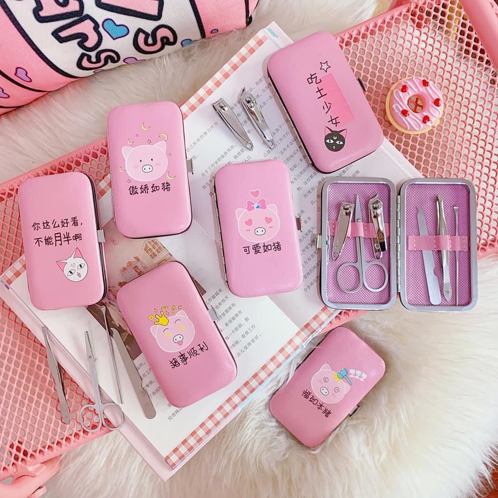 Set bấm móng tay 6 món hình heo hồng