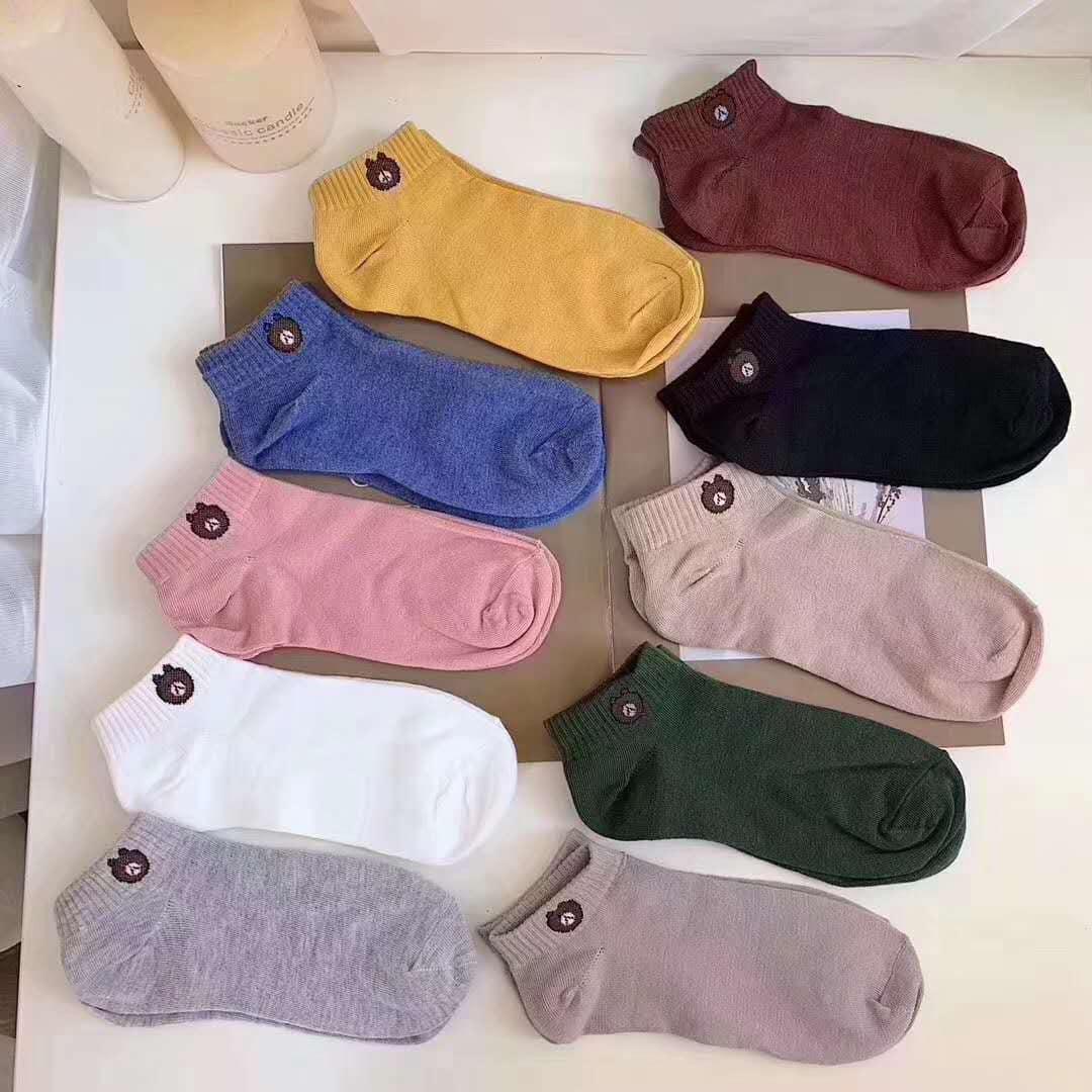 Túi set 10 đôi tất 10 màu hình gấu Line