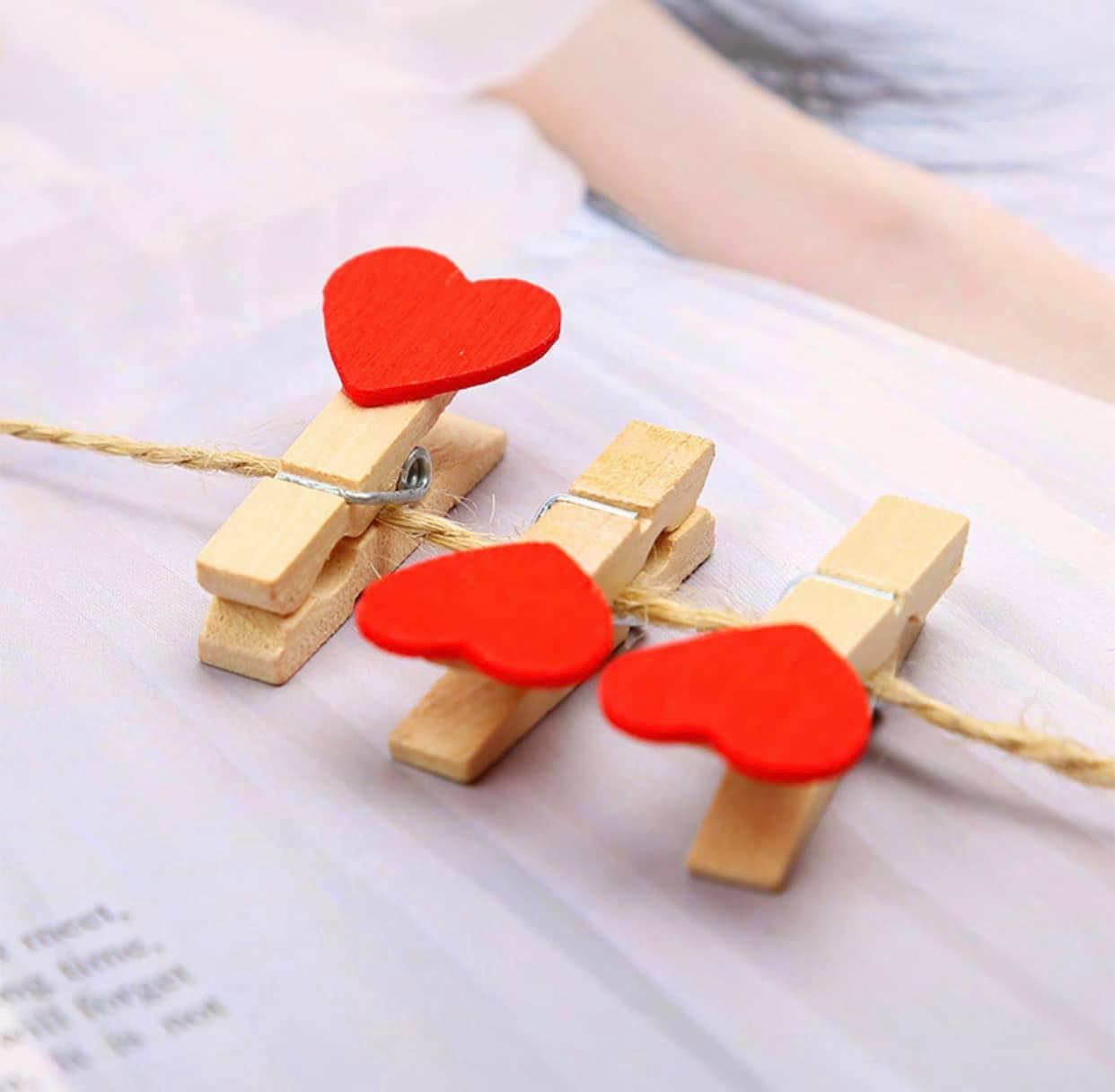 Kẹp gỗ set10 trái tim đỏ