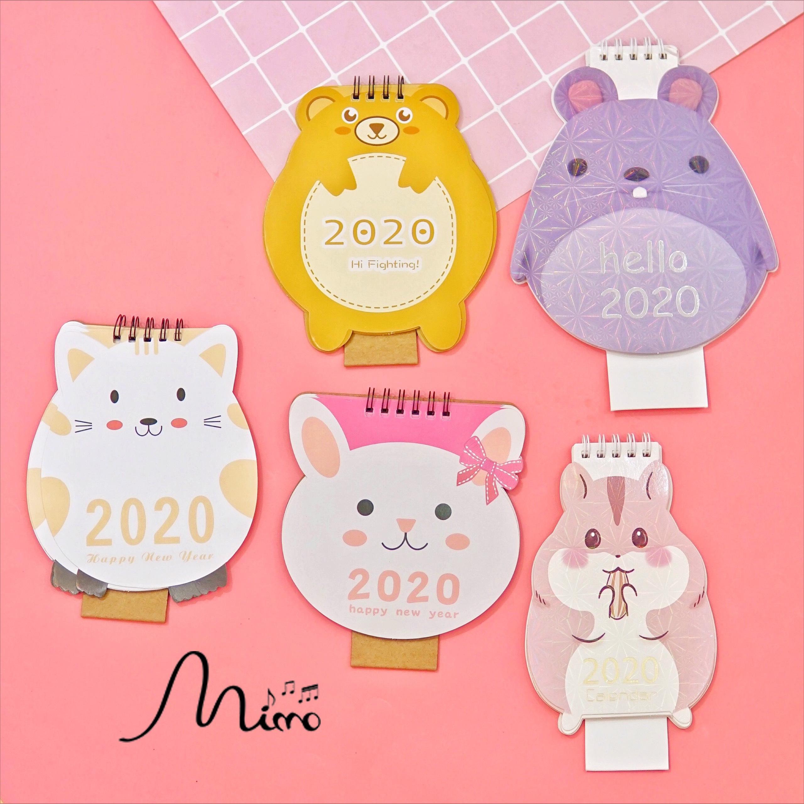 Lịch 2020 để bàn hình gấu - chuột - thỏ
