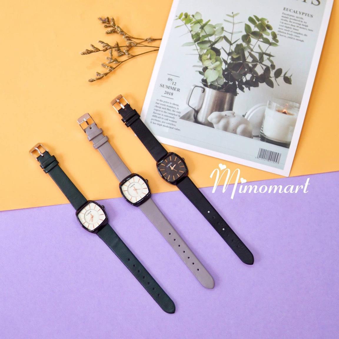 Đồng hồ đeo tay dây da mặt vuông Viser