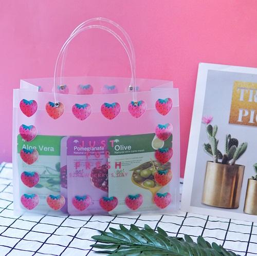 Túi đựng quà trong suốt Strawberry 22x29cm