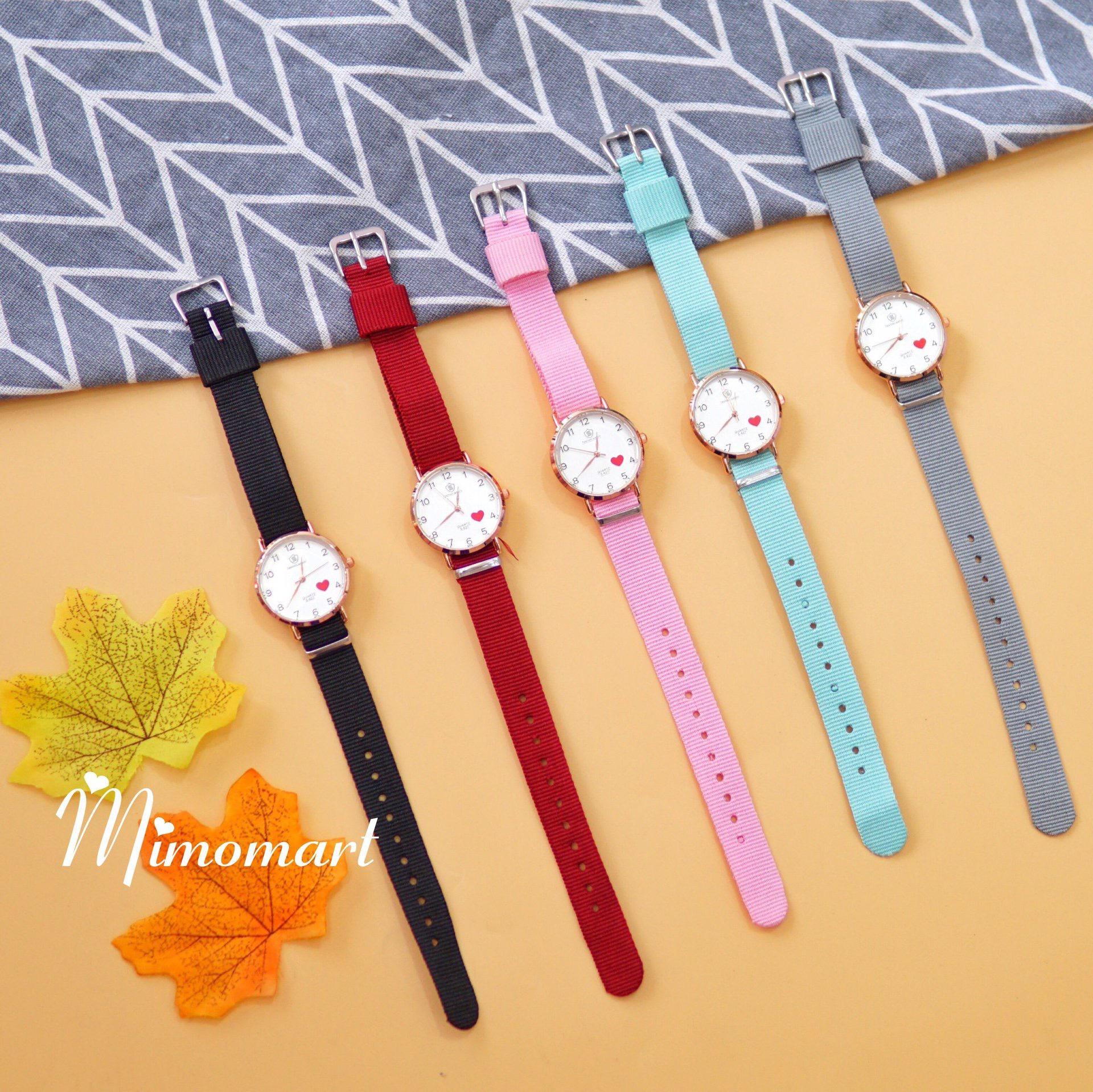 Đồng hồ đeo tay dây da mặt tròn viền bạc Taqiya
