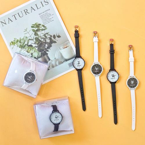 Đồng hồ đeo tay dây đen trắng mặt cung hoàng đạo