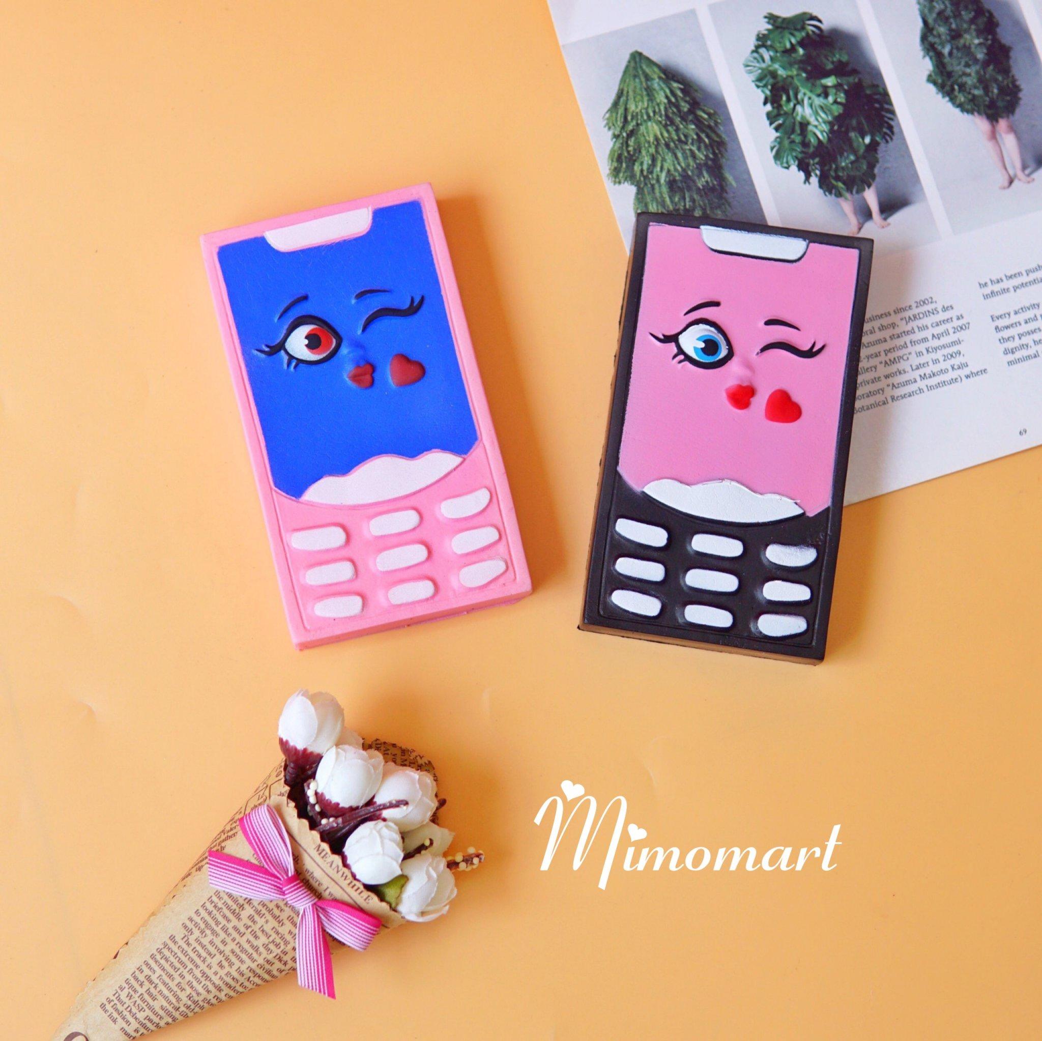 Squishy điện thoại xanh hồng