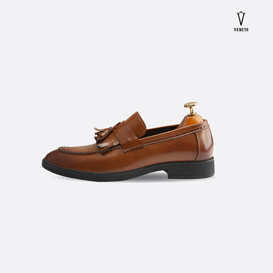 Giầy da Loafer Medium Brown chỉ nổi