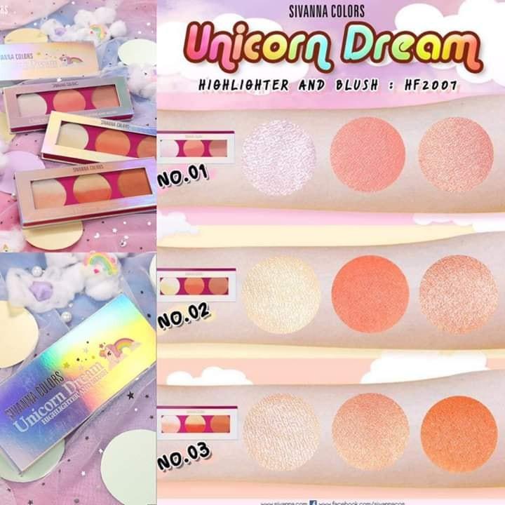 SIVANNA COLORS - Phấn bắt sáng, má hồng Unicorn Dream Highlight & Blush  BeeTee Beauty