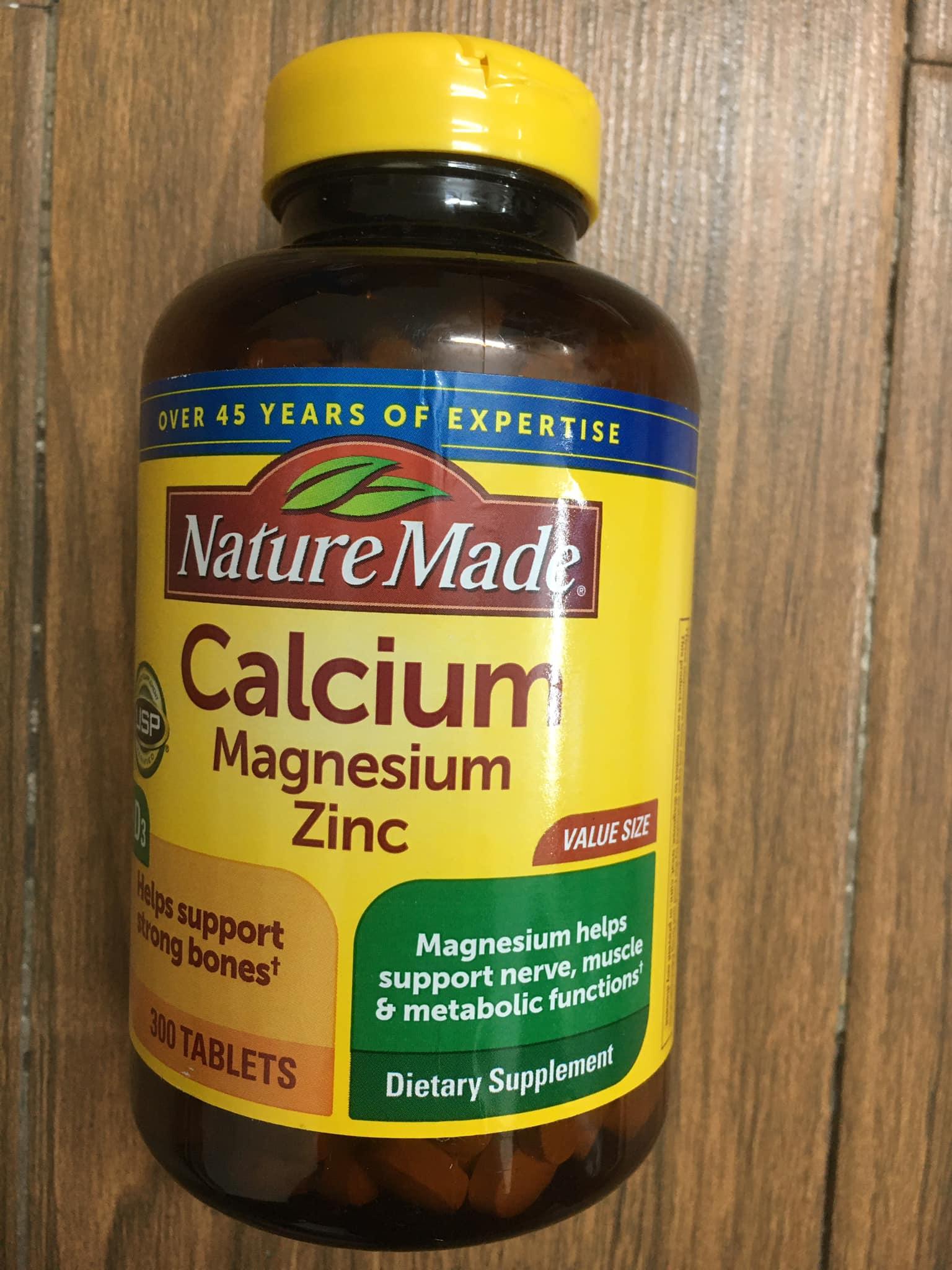 Nature Made Calcium Magnesium Zinc With Vitamin D3, 300 viên