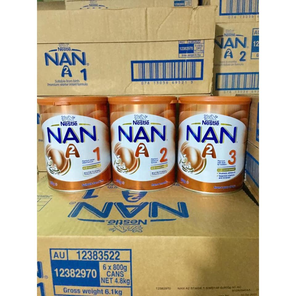 Sữa Nan A2 Úc số 1, số 2, số 3 800g