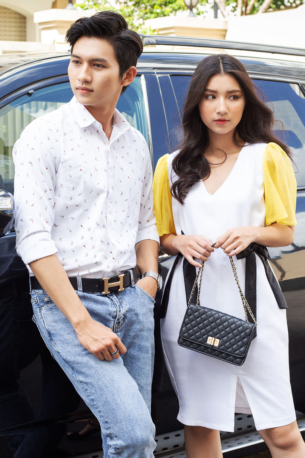 Đồ đôi Couple Premium Scrawl Shirt & Rippled White Dress