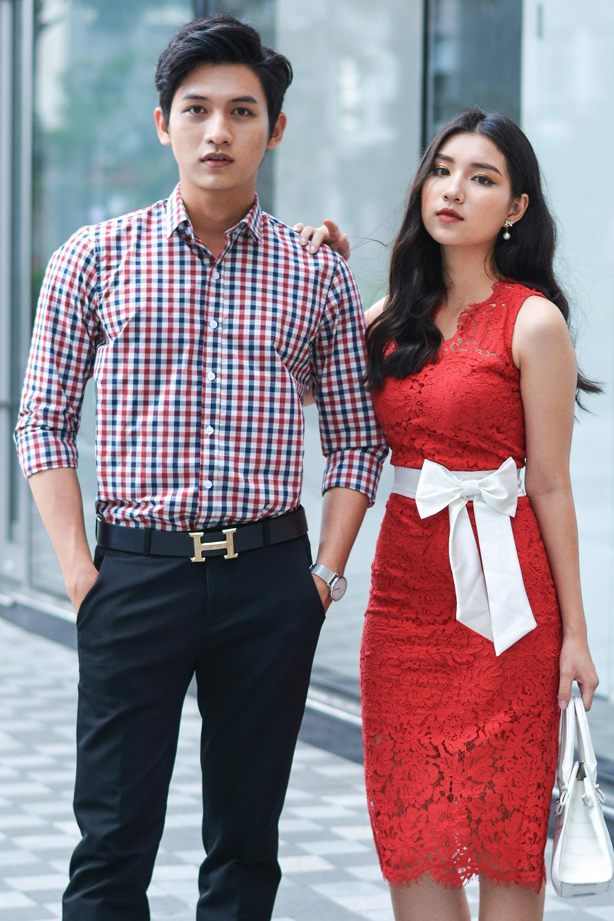 Couple Red Checked Shirt & Gerbera White Bow Dress