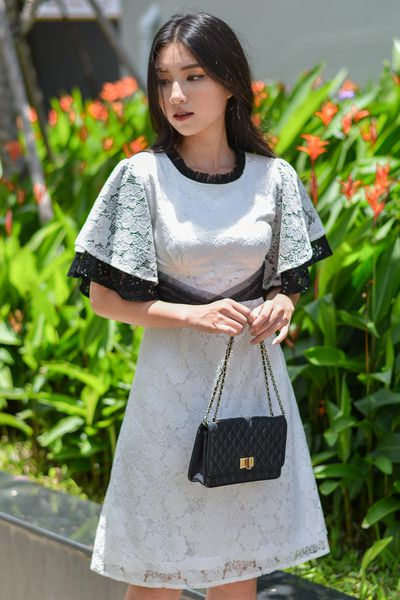 Đầm Thiết Kế Lace Fabric Pleated Neck Waist Dress