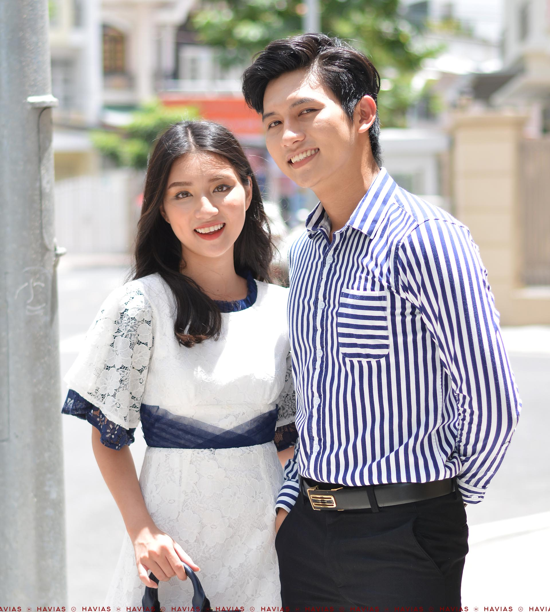 Đồ Đôi Thiết Kế Couple Navy Striped Shirt & Classy Pleated Lace Dress