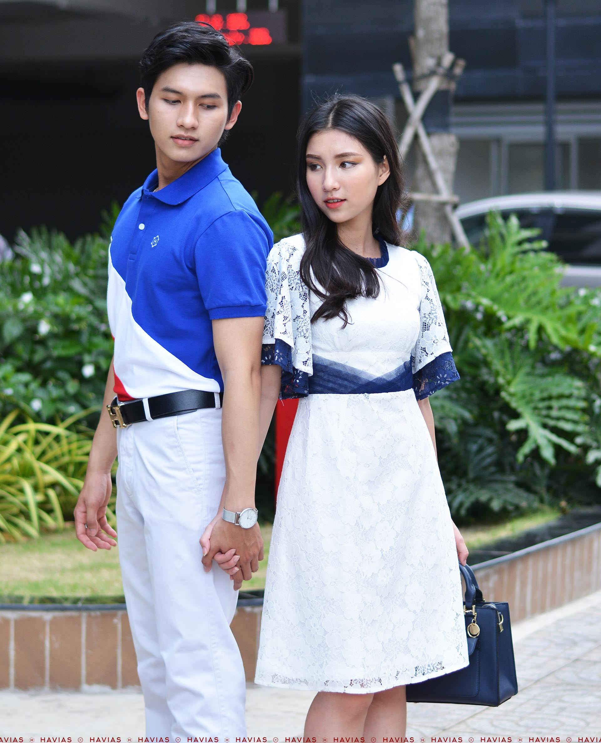 Đồ Đôi Thiết Kế Couple Navy White Red Polo & Classy Pleated Lace Dress