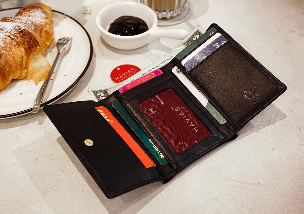 Couple Ví Heyday2 & Heart3 Handcrafted Wallet Black ví cặp da thật may thủ công nam nữ màu đen
