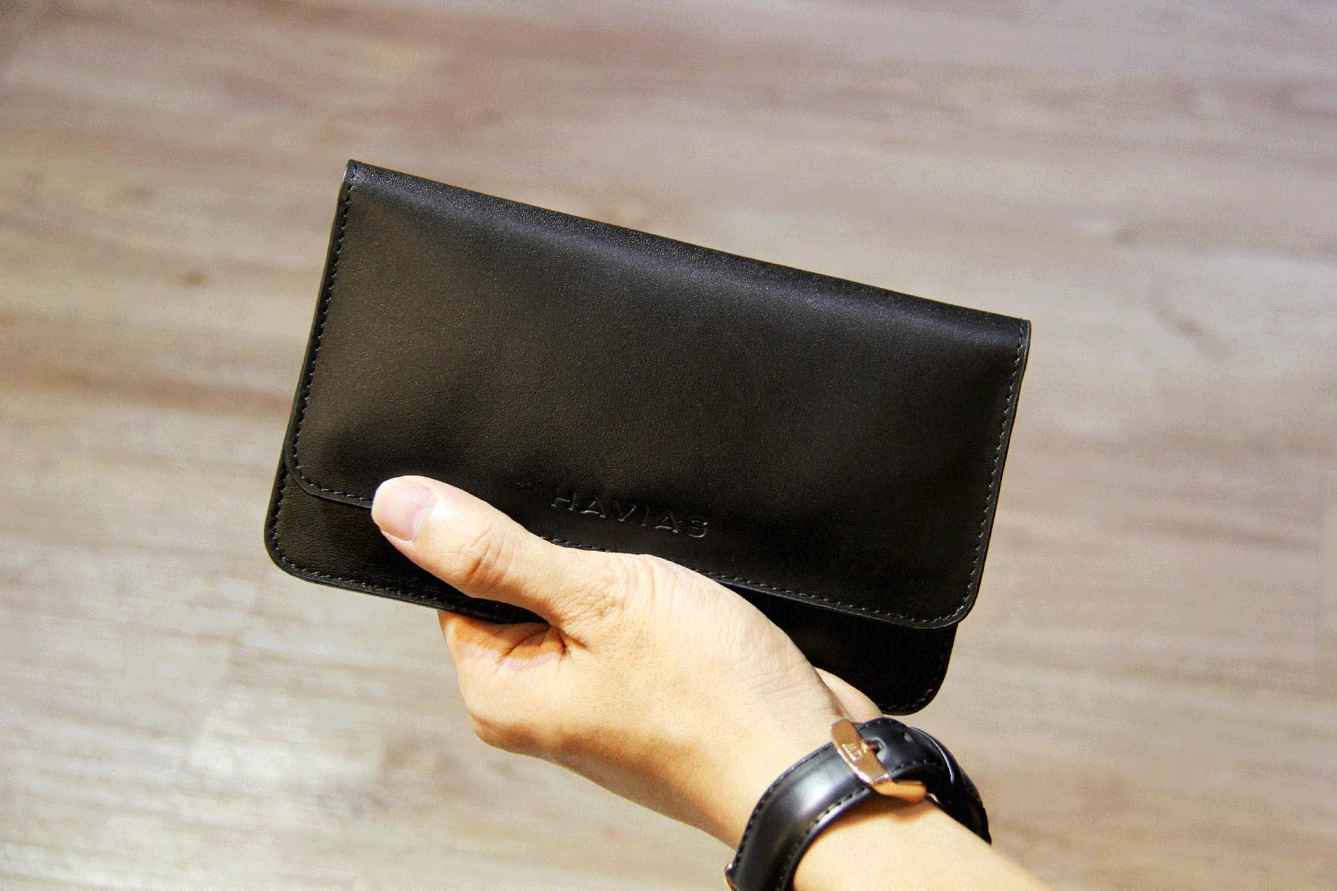 Bóp ví da thật nam nữ HAVIAS The Momo Wallet Black