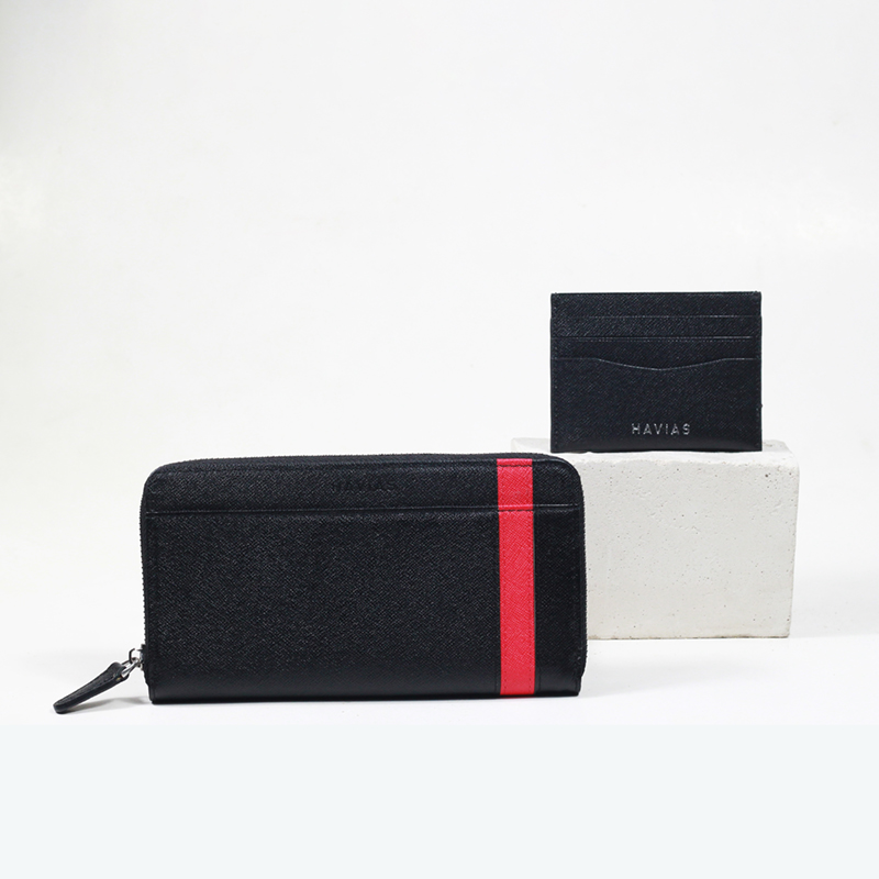 Bóp ví da thật nam nữ HAVIAS Couple Ví The Viva Zipped Long Wallet & Mini HAVIAS Pie Đen