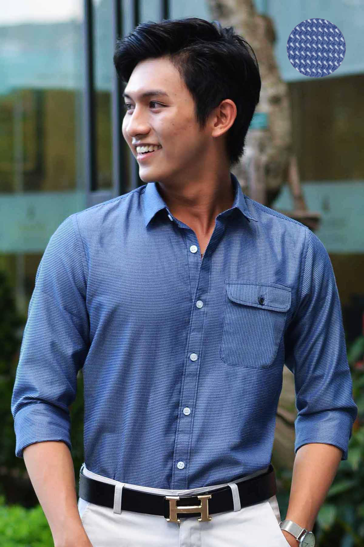 Premium Rippled Dark Blue Shirt with Pocket