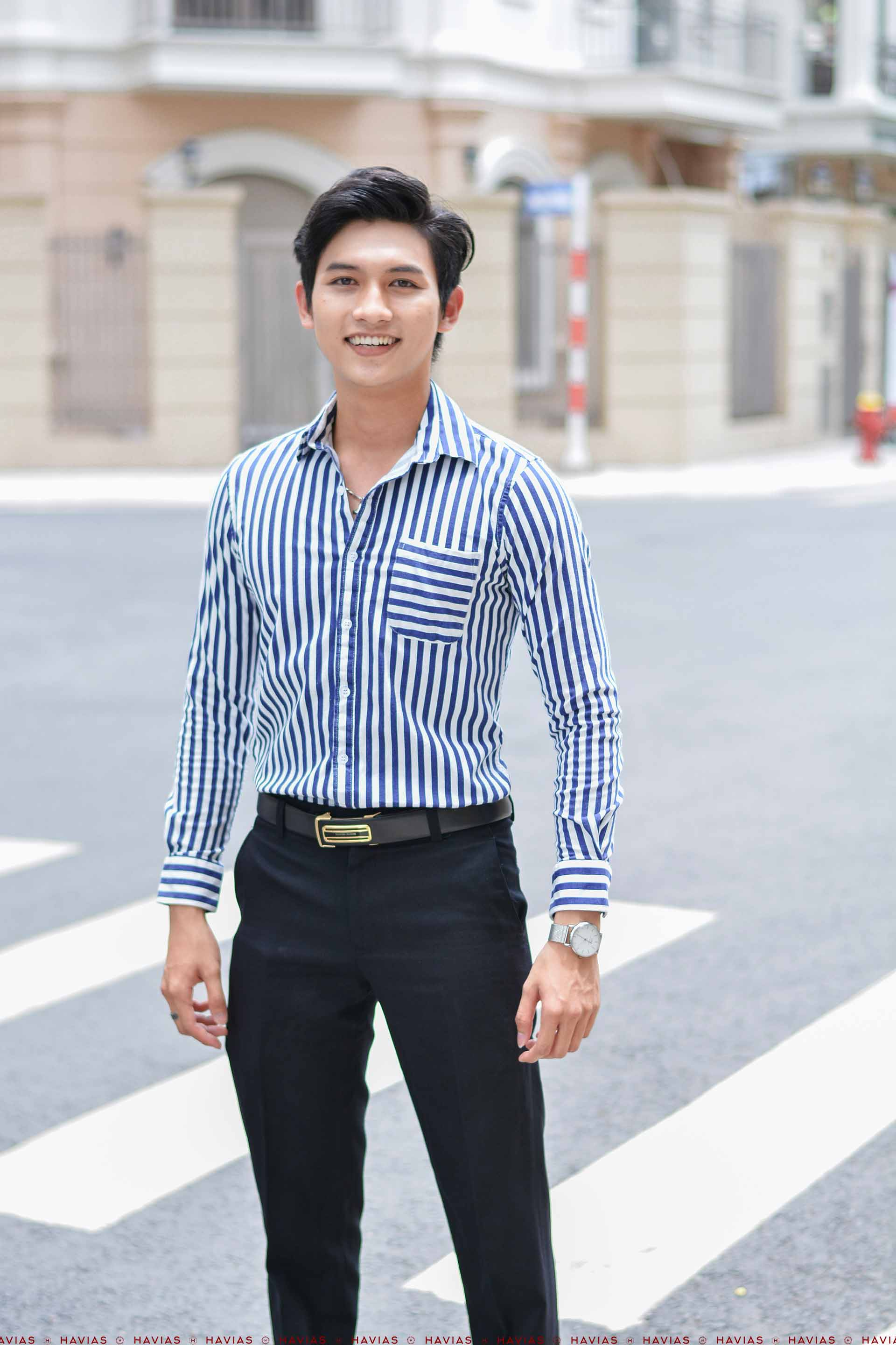 Sơ Mi Cao Cấp Sọc bản to Navy Blue Striped Shirt with Flat Line Pocket