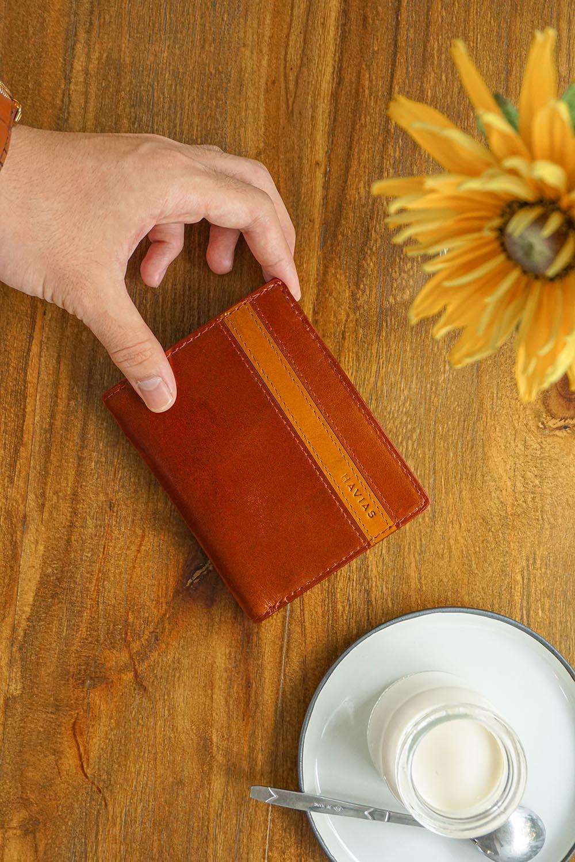 Couple Ví Heyday2 & Verzip2 Handcrafted Wallet ví cặp da thật may thủ công nam nữ màu Nâu Bò