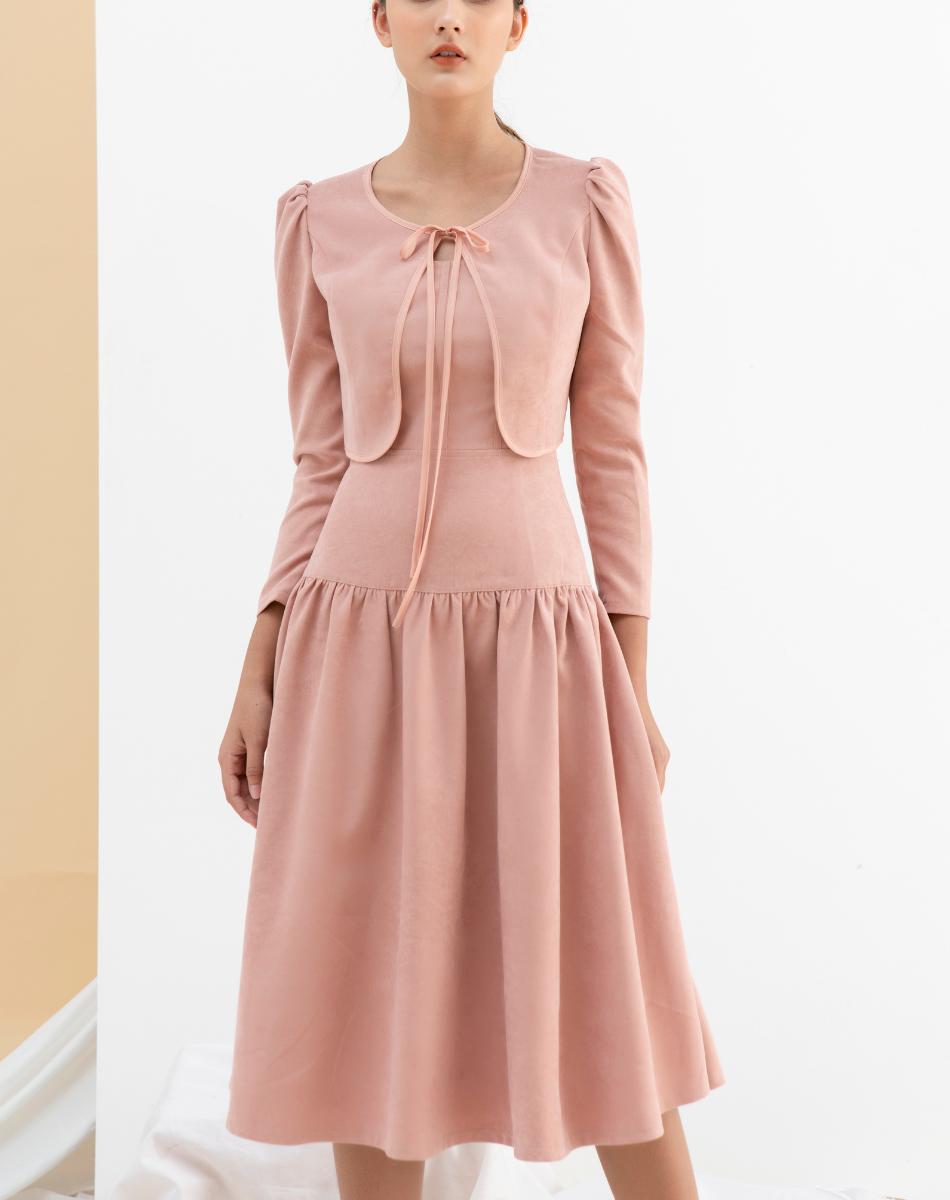 Váy Hai Dây Kèm Áo Khoác Lửng Nữ