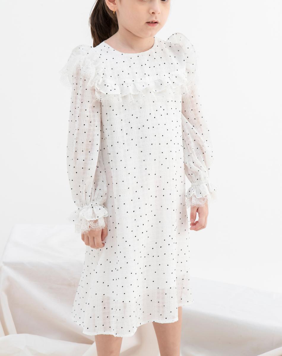 Đầm Tơ Bèo Ren Bé Gái