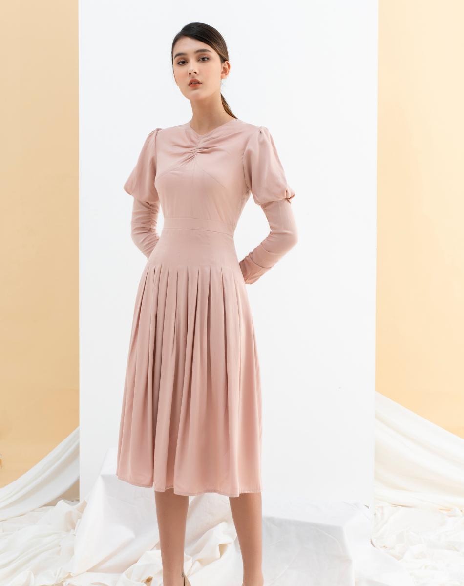 Đầm Xếp Ly Nhún Cổ Nữ