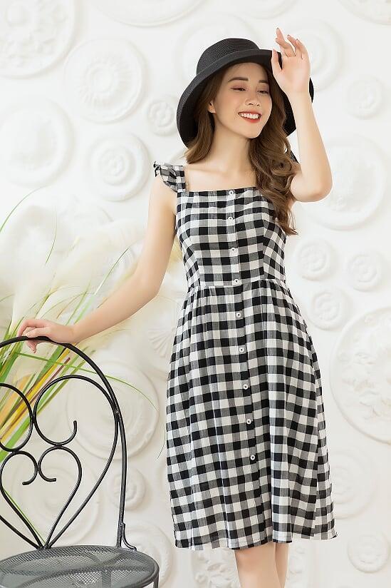 Váy Kẻ Caro 2 Dây - Nữ