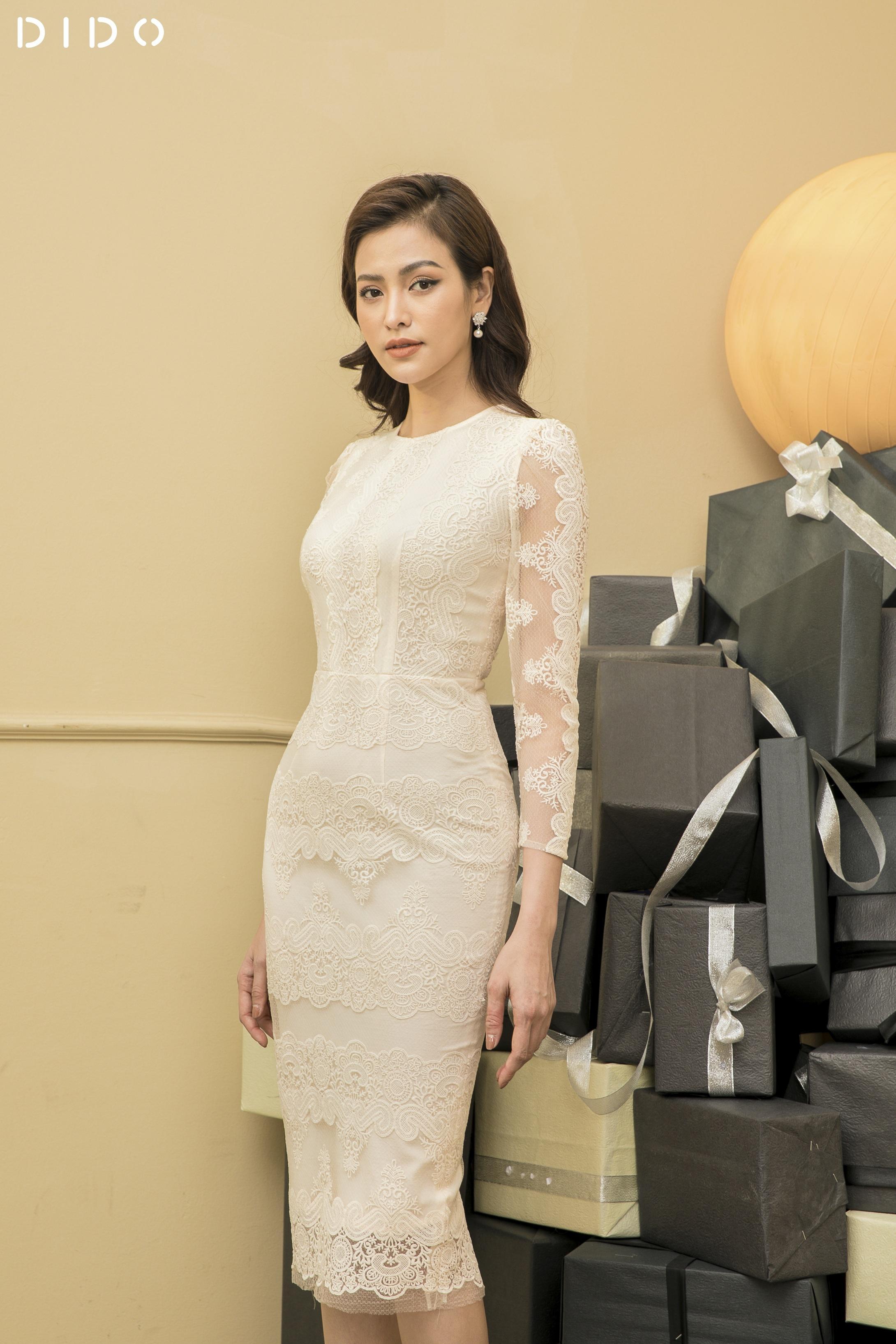Đầm Luxury Ren Trơn Dài Tay - Nữ