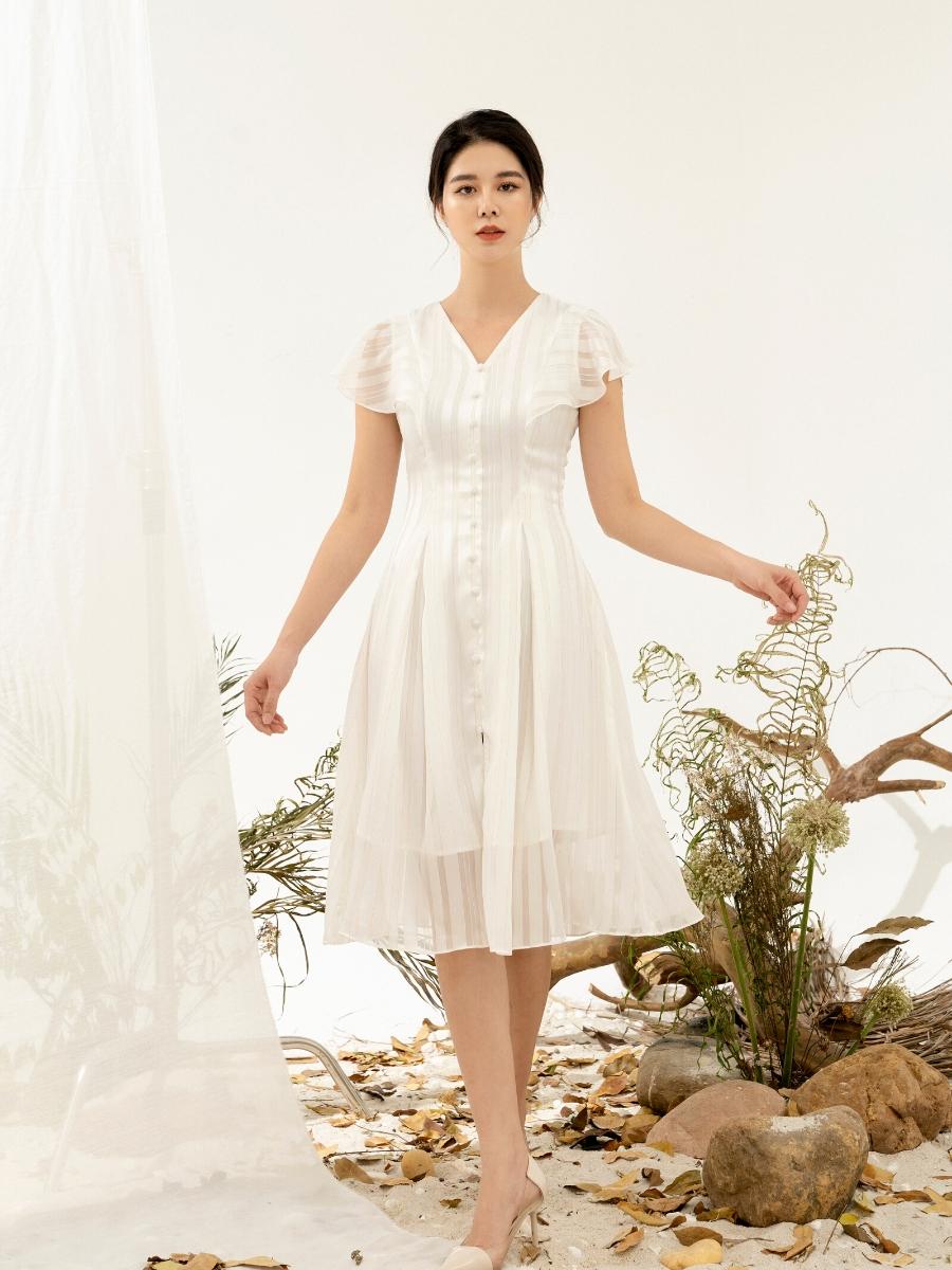 Đầm Tơ Tay Bèo Xếp Ly Eo Nữ