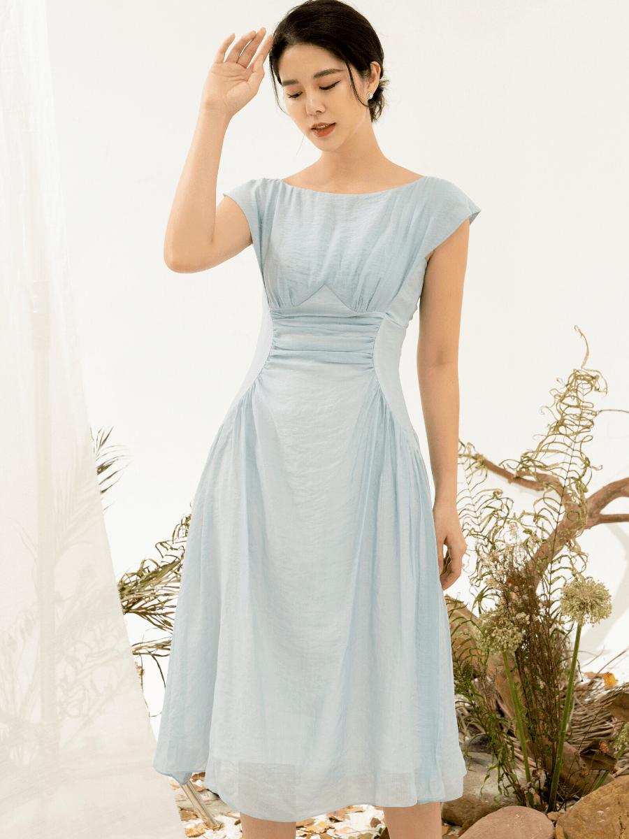 Đầm Tơ Nhún Eo Sườn Nữ