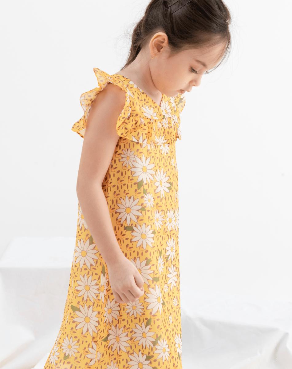 Đầm Voan Suông Bèo Ngực Bé Gái