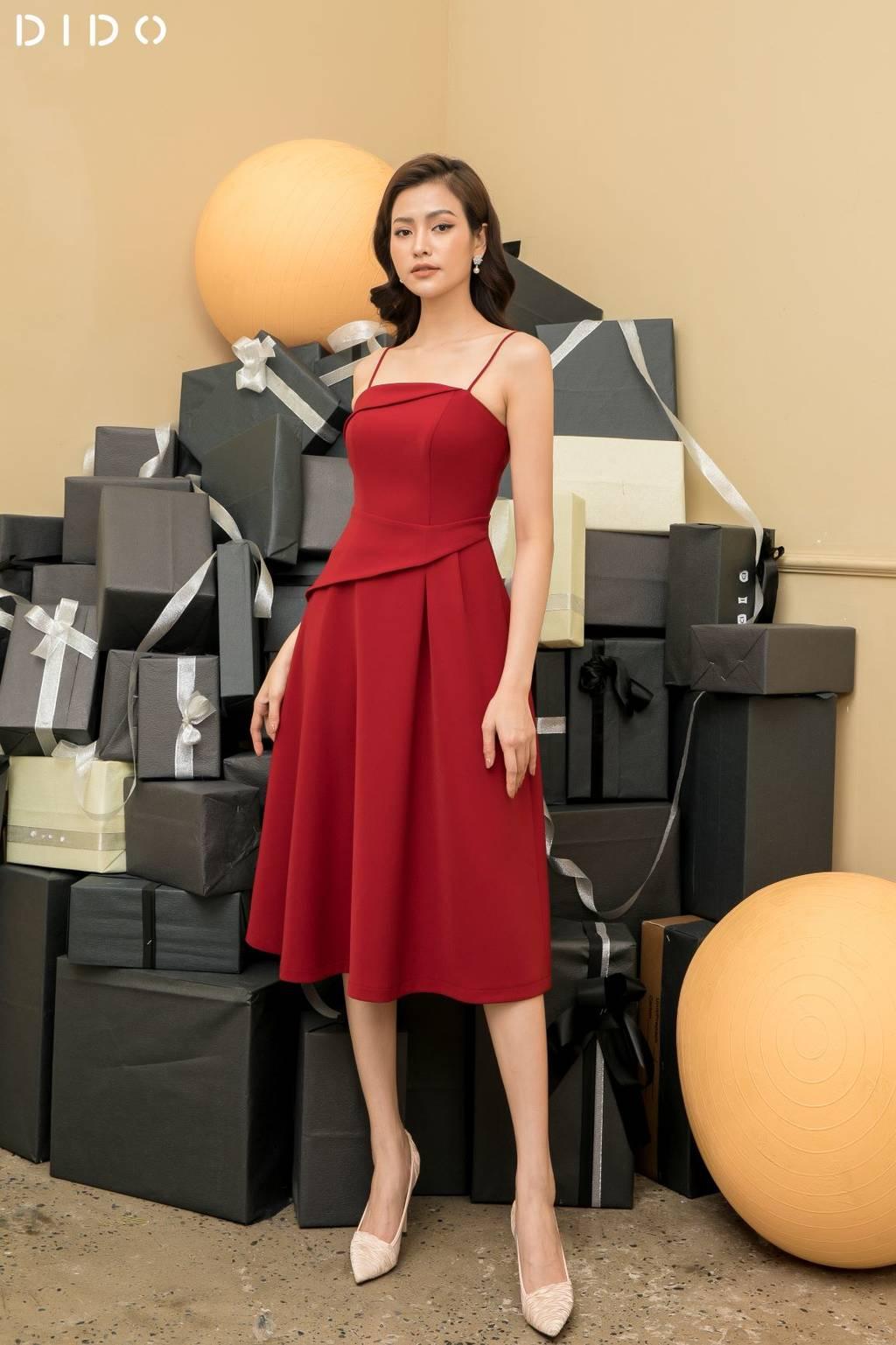 Đầm Luxury Xòe 2 Dây Xếp Ly Eo