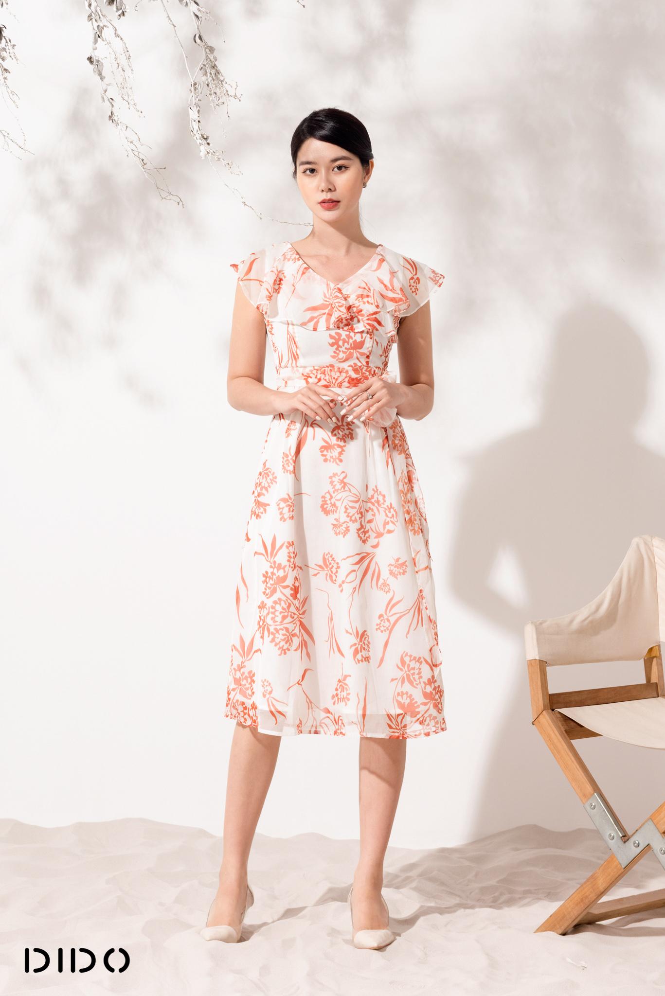 Váy Rúm Eo Hoa - Nữ